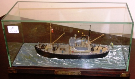 "The Pilot boat ""Gävle"", built at Helsingborgs Shipyard in 1941. 20th century model. Mounted in a glass case."