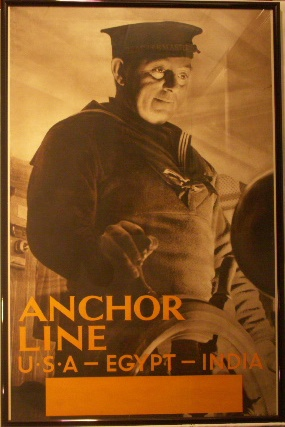 Anchor Line, USA-Egypt-India. 20th century Original Poster.