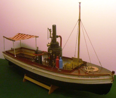 20th century steamboat model depicting the well known AFRICAN QUEEN loaded with 36 bottles of Gin!