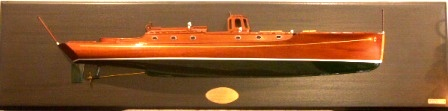 20th century half-block model mounted on wooden panel, depicting the motor yacht M/Y Loris owned by Ivar Kreuger.