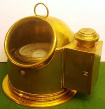 20th century lifeboat binnacle with brass domed cover and observation window, lighting house for night viewing (kerosene lamp missing).