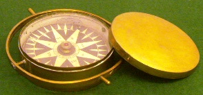 Early 19th century dry card compass mounted in brass bowl, complete with brass lid. Made by Eric Abraham Kullman, Stockholm.