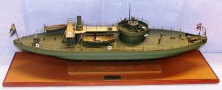 20th century built model depicting the MONITOR constructed by John Ericsson 1882 and flying the Naval Swedish-Norwegian Union Flag.