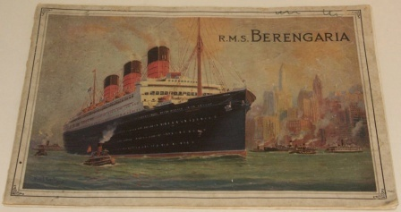 The R.M.S. BERENGARIA. Cunard White Star publication. Incl photos of the interior, illustrations and documentary information.