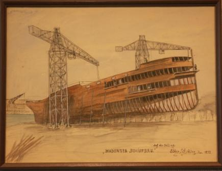 """Moderner Schiffbau"" (Modern shipbuilding). Depicting a vessel on the slipway."