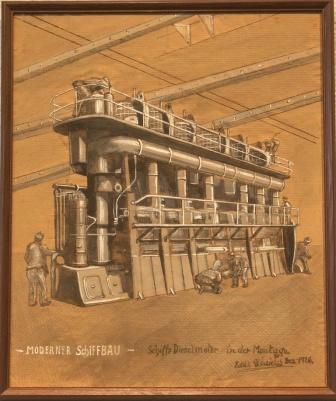 """Moderner Schiffbau"" (Modern shipbuilding). Depicting the installment of a ship's diesel engine."