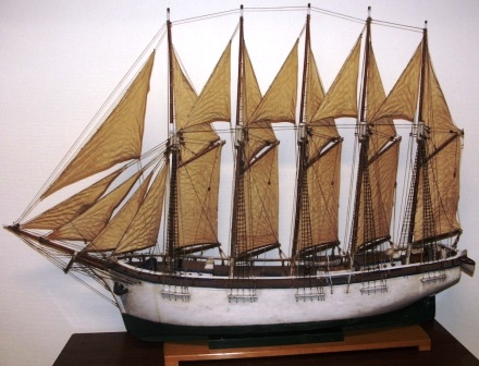 Late 19th century sailor-made five-masted schooner with set sails