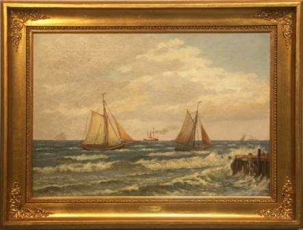 Sailing boats and steamers off the Danish coast near Gilleleie