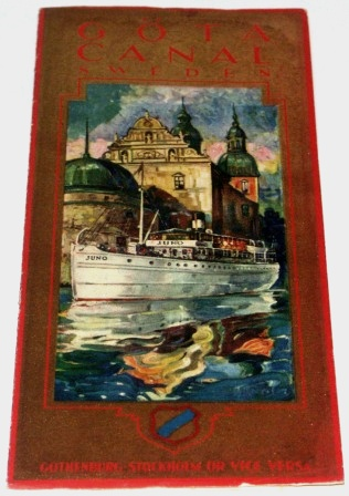 "Brochure presenting the 1929 ""Göta Kanal"" Cruise, the waterway between the east and west coast of Sweden (Stockholm to Gothenburg). By the Göta Kanal Steamship Company."