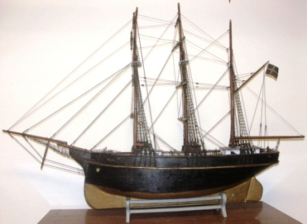 "Mid 19th century sailor-made three masted barque depicting ""HILDA af Stockholm"""