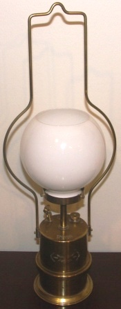Nautical antiques collectables early 20th century carbide lamp made of brass with glass shade marked with aloadofball Image collections