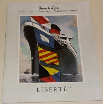 S.S. LIBERTÉ of the French Line/Cie Générale Transatlantique. Booklet rich in illustrations and incl documentary facts. Published in the 1930's, 34 pages