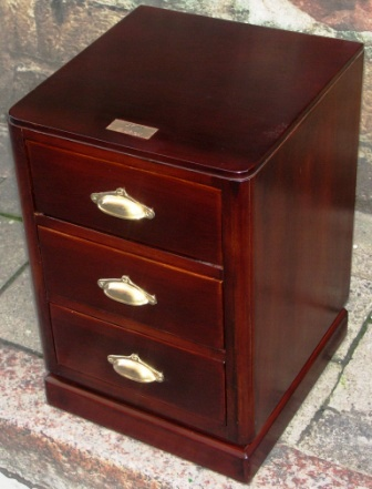 Small chest of three drawers in mahogany and brass from the Italian liner M/N G. Verdi.