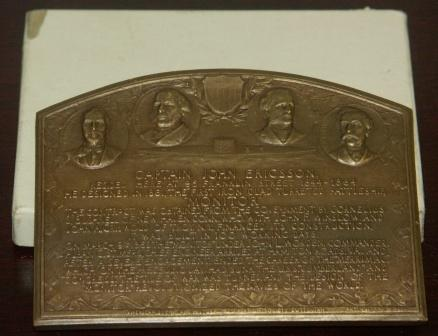 Bronze tablet unveiled on July 31st 1924 commemorating Capt. John Ericsson, designer of the first iron clad turreted battle ship MONITOR.