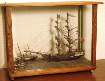 Mid 19th century sailor-made diorama. Depicting sailing vessel, passenger steamer and paddle tug-boat.