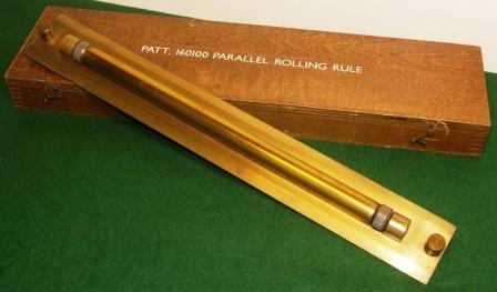 20th century parallel rolling rule, Patt. 160100, made in brass. Complete with original wooden box.