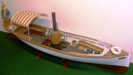 "20th century built model depicting the 19th century steamboat ""Pilus"", flying the Swedish-Norwegian Union Flag"