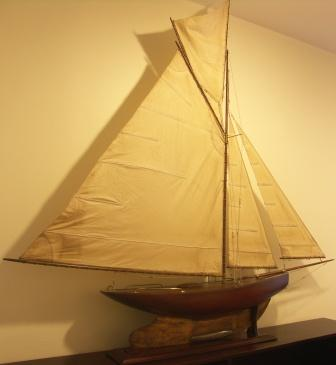 Pond Yacht with set sails and lead & copper keel, ca 1930