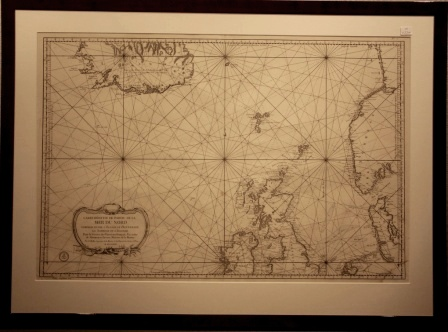Original 18th century chart covering part of the northern Atlantic. Dated 1768, published by the French Maritime Ministry.