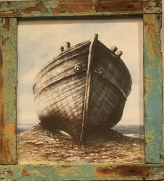 A Mediterranean boat wreck on the Greek island Kos. Framed with one of the wrecks original wheel-house windows.