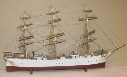Mid 20th century sailor-made model depicting the Finnish full-rigged vessel Soumen Joutsen, today moored in Turku, Finland as a museum ship.