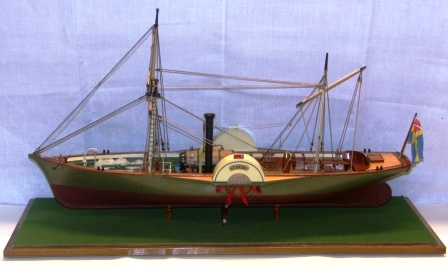 20th century built model depicting the paddle-steamer THOR, flying the Swedish-Norwegian Merchant Union Flag. Complete with individually built and functional steam engine.
