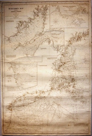 Original nautical chart, mounted. Dated 1860, depicting Buzzard's Bay and part of Martha's Vineyard (covering the coastline Great Egg Harbour to Rockport/Camden).