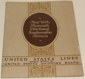 United States Lines. Information and illustrations from the steamships GEORGE WASHINGTON, PRESIDENT ROOSEVELT, PRESIDENT HARDING, AMERICA and REPUBLIC.